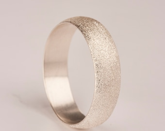 """Silver 6mm """"brushed"""" finish ring"""