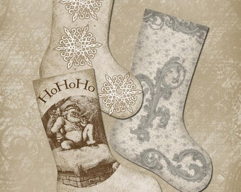 Christmas Stocking Tags Sepia Vintage  Printable Digital Download