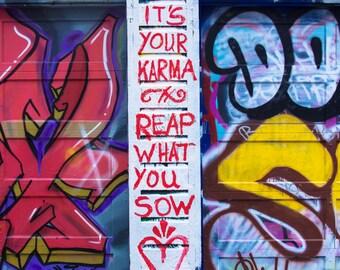 Street Art Photography Karma - street art graffiti colorful city photography