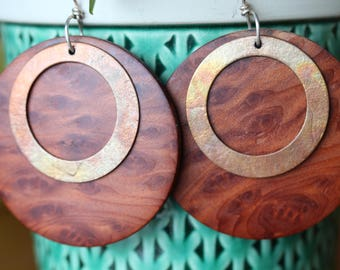 Redwood Burl and Fire-Oxidized Copper Earrings