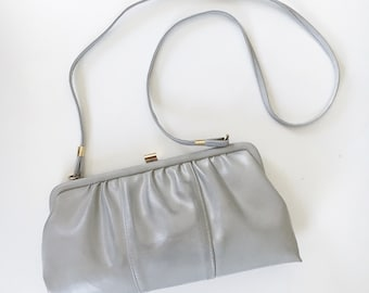 Vintage Gray Leather Clutch / Gray Crossbody / Evening Clutch with Mirror