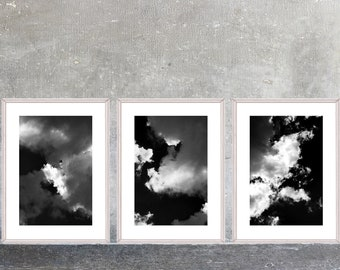 Printable Dark Sky Clouds Photo Set, Three Digital Prints, Nature Photography, Black White Decor, Dark Dramatic Art,  Instant Download