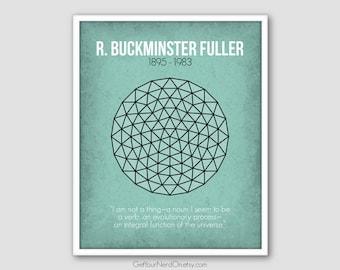 Notable Nerd Poster - Buckminster Fuller - Wall Art Print - Available as 8x10, 11x14 or 16x20