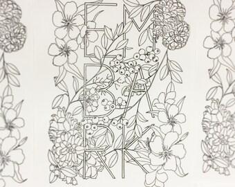 Botanical Inklings Watercolor Coloring Book