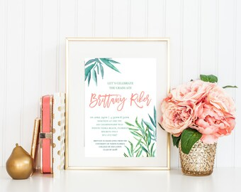 Palm Frond Tropical Chic  [Pick your wording and font colors, Option for Seller to Print and Ship, PDF, printable]
