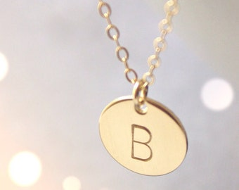 Initial Disc Gold Necklace - 14K Goldfilled/ Choose your Initial