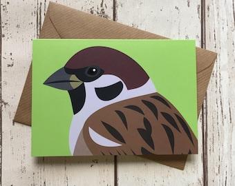Tree Sparrow greeting card - blank inside