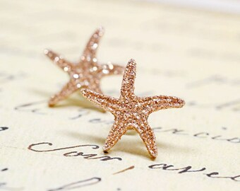 Rose Gold Starfish Earrings, Bronze Glitter Metallic Star Fish Studs, Sparkly Gifts for Beach Lovers, Nautical Beach Mermaid Jewelry