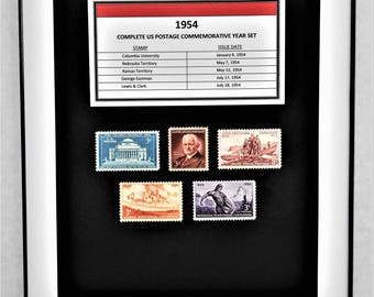 1954 Complete US Postage Commemorative Year Set - Birth Year Gift - Postage Art