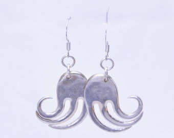 Cocktail Fork Wave Earrings made from Vintage Silverware