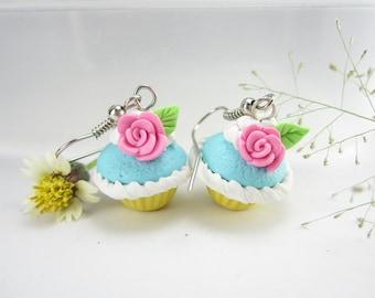Pink Rose Cupcake Earrings, cupcake jewelry, food earrings, food jewelry, polymer clay, miniature food, roses, cute, kawaii, foodie gift