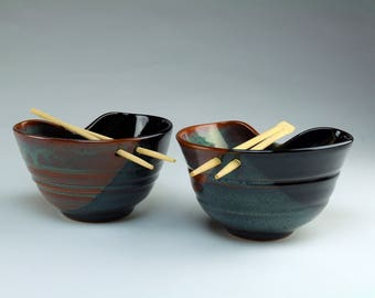 Noodle Bowl - Rice Bowl - ChopStick Bowl - Food-safe, functional pottery - Stoneware - Microwave Safe - COLOR -