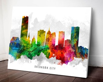 Oklahoma City Skyline Canvas Print, Oklahoma Cityscape, Oklahoma City, Oklahoma Art Print, Home Decor, Gift Idea, USOKOC12C