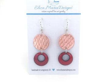 Red Earrings, Red Enamel & Copper Earrings, Handmade Red Enamel Jewelry, Textured Copper Earrings, Red Glass Earrings