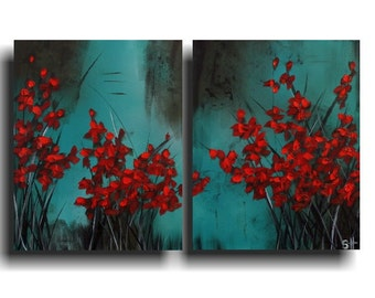 Large Abstract Painting Red Flowers 2 Piece 20 x 32 Turquoise Teal Blue Modern Canvas Wall Art Outsider Art Zen Painting Asian