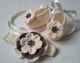 Crochet Baby Headband and Booties Girl Gift baby shower photo prop flower