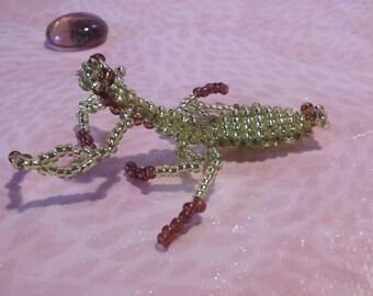 Praying Mantis in seed beads