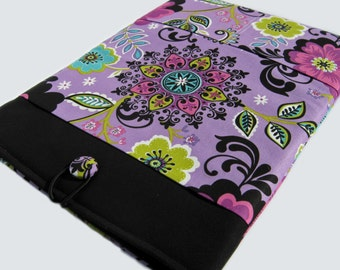Macbook Air Case, Macbook Air Sleeve, Macbook 12 inch Case, 11 Inch Macbook Air Case, Laptop Sleeve, Purple and Black Floral