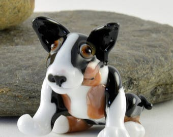 RAYMOND the Bull Terrier,  dog sculpture, whimiscal focal glass lampwork bead, collectible dog bead, Izzybeads SRA