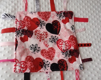 Damask Heart Blankie with ribbons