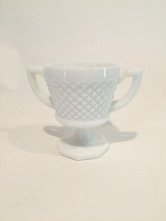 Vintage White Hobnail Milk Glass Chalice/Sugar Bowl Circa 1950s