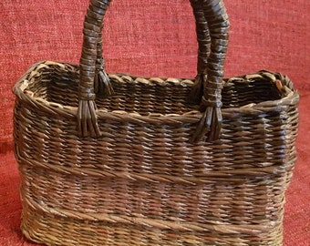 Unique, Bespoke,Handmade Woven,Newspaper Basket, Bag, Gradient Brown Tones, Upcycled, Recycled, Eco Friendly, Spring/Summer, Vintage Style
