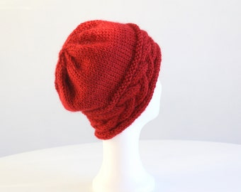 Red hand knit hat with cable for women