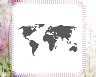 World map stencil etsy world map stencil country craft diy reusable stencil gumiabroncs Gallery