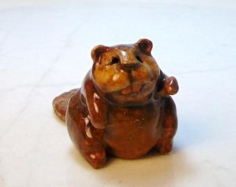 Beaver Terrarium Figurine - Forrest Animal - Miniature Beaver Figurine - Ceramic Animal - Clay Beaver - Pottery Animal