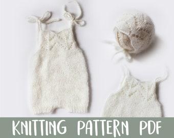 KNITTING PATTERN | Laney Lace Romper Set | Sitter Set | Baby Romper | Baby Bonnet | Photography Prop