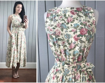 1980s does 1950s Vintage Floral Sundress with Pockets | 1980s Dress | 80s Summer Dress | 1980s Sundress | 1980s Clothing | Vintage Clothing