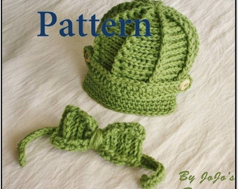 PDF Newsboy Hat and Bow Tie PATTERN - Baby Newsboy Hat and Bow Tie- Crochet Pattern - Newborn and 0 - 3 month Sizes - by JoJosBootique