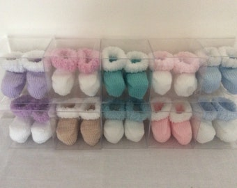 Hand knitted baby booties -to fit newborn-3 months