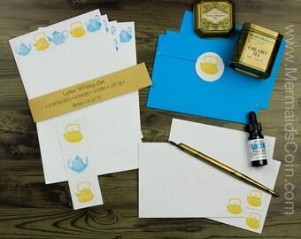 Die Teetrinker Brief Schreibset - gelb und blau Jahrgang Teekannen