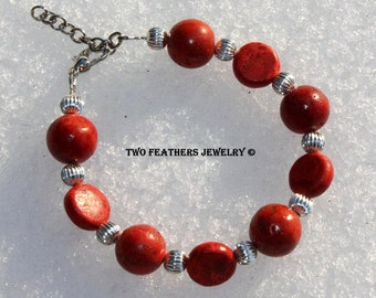 Red Coral Bracelet - Sponge Coral And Silver Bracelet - Beaded Bracelet - Adjustable Bracelet - Gift For Her - Red And Silver - Two Feathers