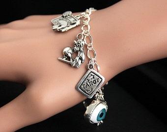 Gypsy Bracelet. Fortune Teller Charm Bracelet. Mystic Bracelet. Oracle Bracelet. Ouija Bracelet. Tarot Bracelet. Silver Bracelet.