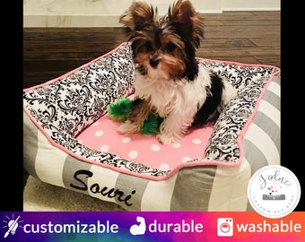 Girly Pink & Grey Dog Bed with Black Damask | Classy, Girly, Princess - Small, Medium, Large Bolster Pet Bed