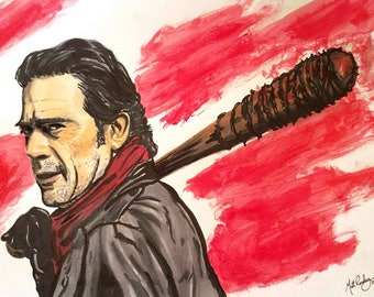 Negan and Lucille - 9 x 12 Ink and Watercolor Print