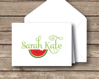 Personalized stationery,  Folded name note cards, watermelon stationery,  kids notecards with envelopes, set of 12