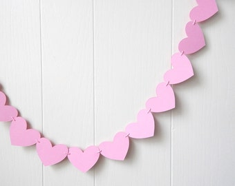 Free Shipping Cotton Candy Pink Heart Garland / Wedding Decoration / Love Bunting / Anniversary Decor / Photo Prop / Adjustable Hand Sewn