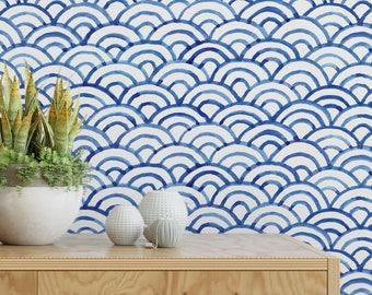 Hand painted watercolor scallops removable wallpaper / cute self adhesive wallpaper / watercolor wall mural G146-27