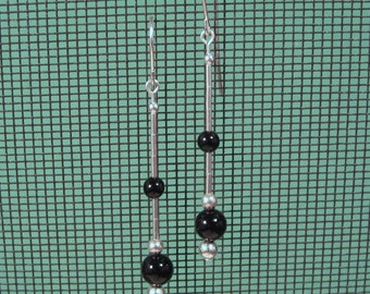 Sterling Silver Black Onyx Long Dangle Earrings