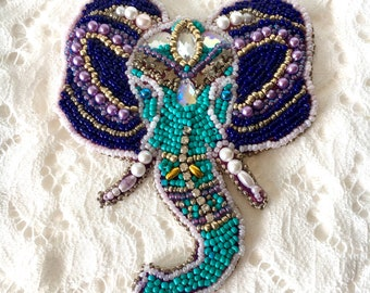 Elephant brooch, Handmade brooch, Indian elephant, Beaded elephant, Colorful brooch, Blue brooch, Elephant lover gift, Animal inspired,Huge