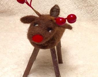Kit: Needle Felted Twiggy Reindeer