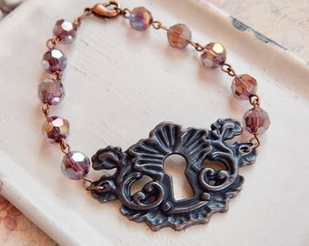 Macy - purple beaded keyhole bracelet - purple crystal bracelet