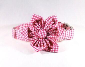 Preppy Hot Pink Gingham Girl Dog Flower Bow Tie Collar