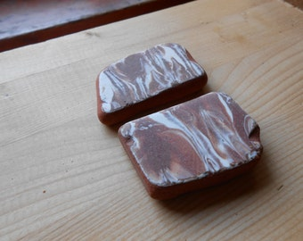 Genuine sea pottery, Marbled brown and white beach pottery  Sea pottery  supplies 2 pieces   lotto198