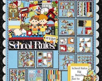 On Sale 50% Off Digital Scrapbooking Kit School Rules Collection - Digital Scrap Kit