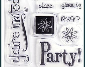 LOT 11 CLEAR INVITATION PARTY STAMPS FRIEZE SCRAPBOOKING
