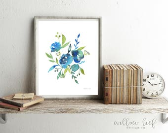 Blue Blossoms, Wall art,Watercolor Print, Spring, Floral art, Easter